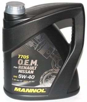 MANNOL 7705 O.E.M. for Renault Nissan SAE 5W-40 (4л.) Синт.моторное масло API SN/CF