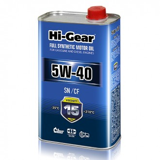 Hi-Gear 5W-40 SN/CF FULL SYNTHETIC MOTOR OIL (1л) Масло моторное синтетическое